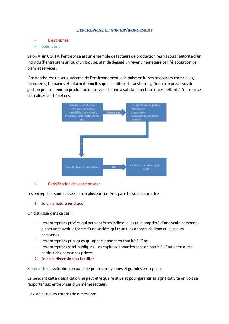 L'entreprise et son environnement    I-        L'entreprise :         Définition :Selon Alain COTTA, l'entreprise est un ...