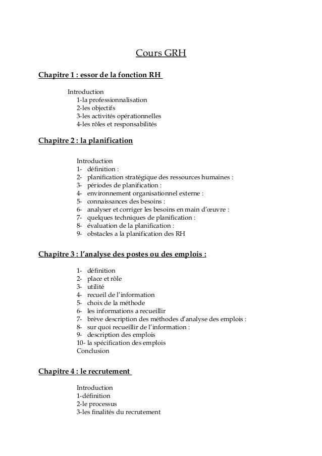 Cours GRH Chapitre 1 : essor de la fonction RH Introduction 1-la professionnalisation 2-les objectifs 3-les activités opér...
