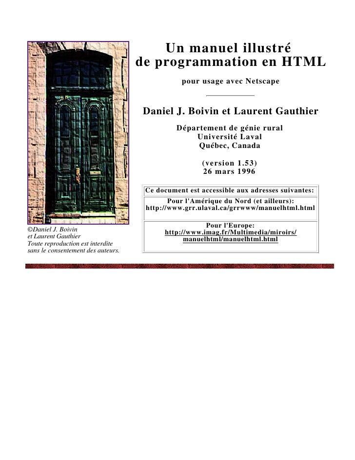 Un manuel illustré                                     de programmation en HTML                                           ...