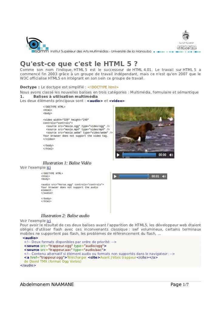 Quest-ce que cest le HTML 5 ?Comme son nom lindique, HTML 5 est le successeur de HTML 4.01. Le travail sur HTML 5 acommenc...