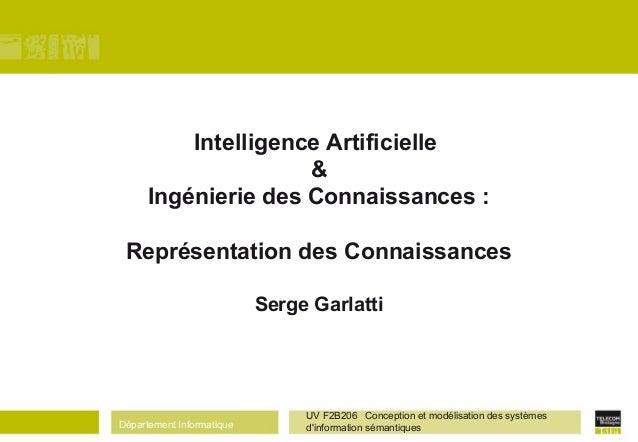 Département Informatique UV F2B206 Conception et modélisation des systèmes d'information sémantiques Intelligence Artifici...
