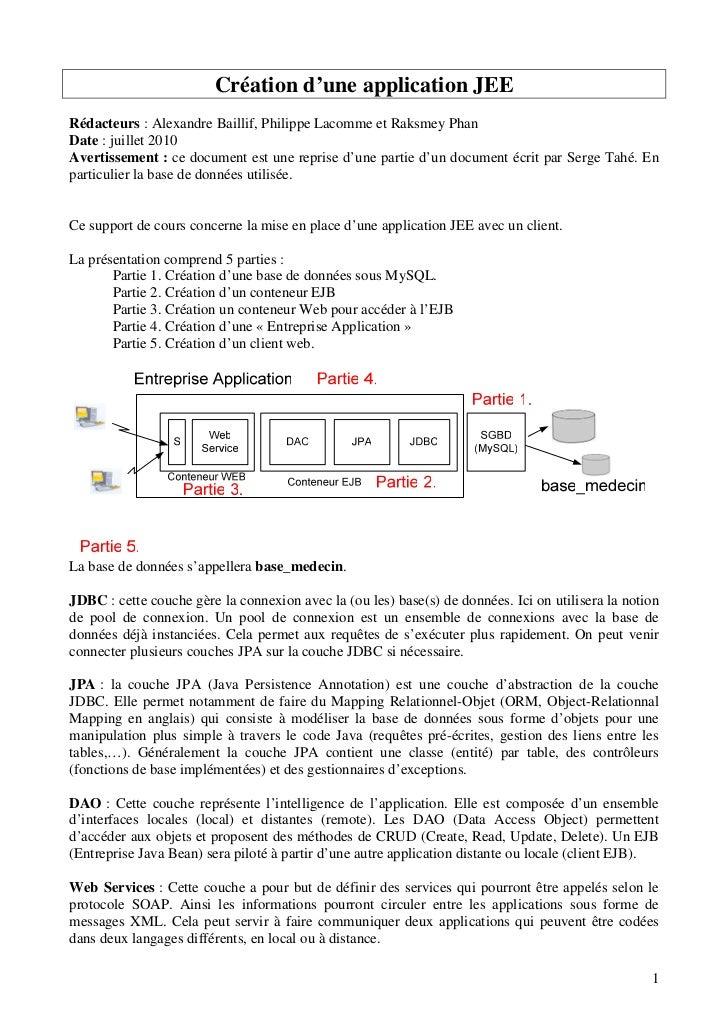 Création d'une application JEERédacteurs : Alexandre Baillif, Philippe Lacomme et Raksmey PhanDate : juillet 2010Avertisse...