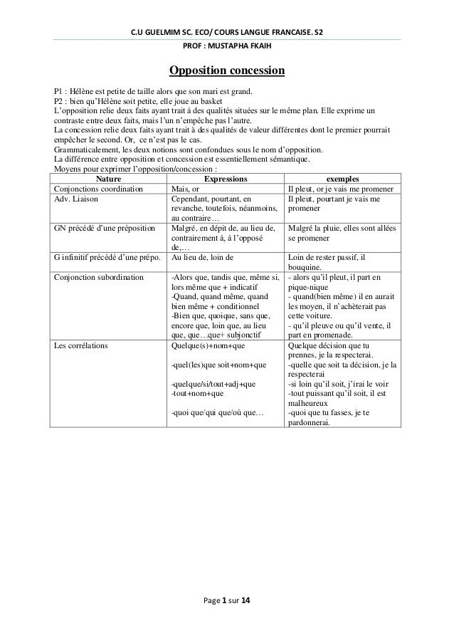 C.U GUELMIM SC. ECO/ COURS LANGUE FRANCAISE. S2 PROF : MUSTAPHA FKAIH  Opposition concession P1 : Hélène est petite de tai...