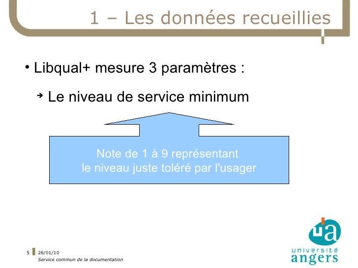 1 – Les données recueillies  • Libqual+ mesure 3 paramètres :     ➔         Le niveau de service minimum                  ...