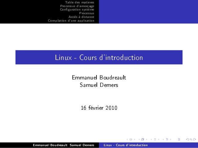 Table des matieres               Processus damorçage               Conguration système                           Processus...
