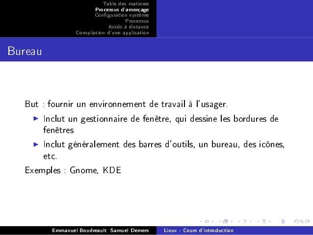 Cours linux intermediaire - Environnement bureau linux ...