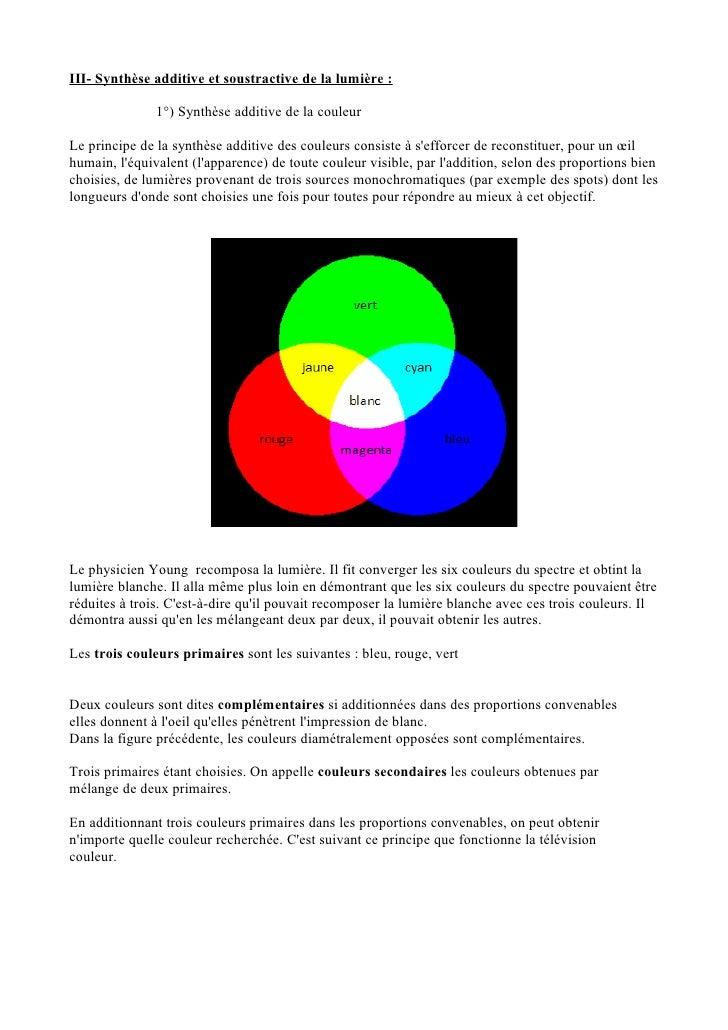 cours lumiere et couleur