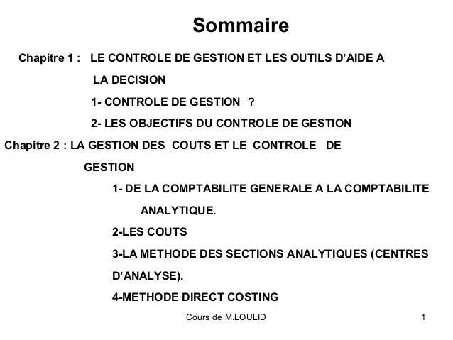 Cours de M.LOULID 1 Chapitre 1 : LE CONTROLE DE GESTION ET LES OUTILS D'AIDE A LA DECISION 1- CONTROLE DE GESTION ? 2- LES...