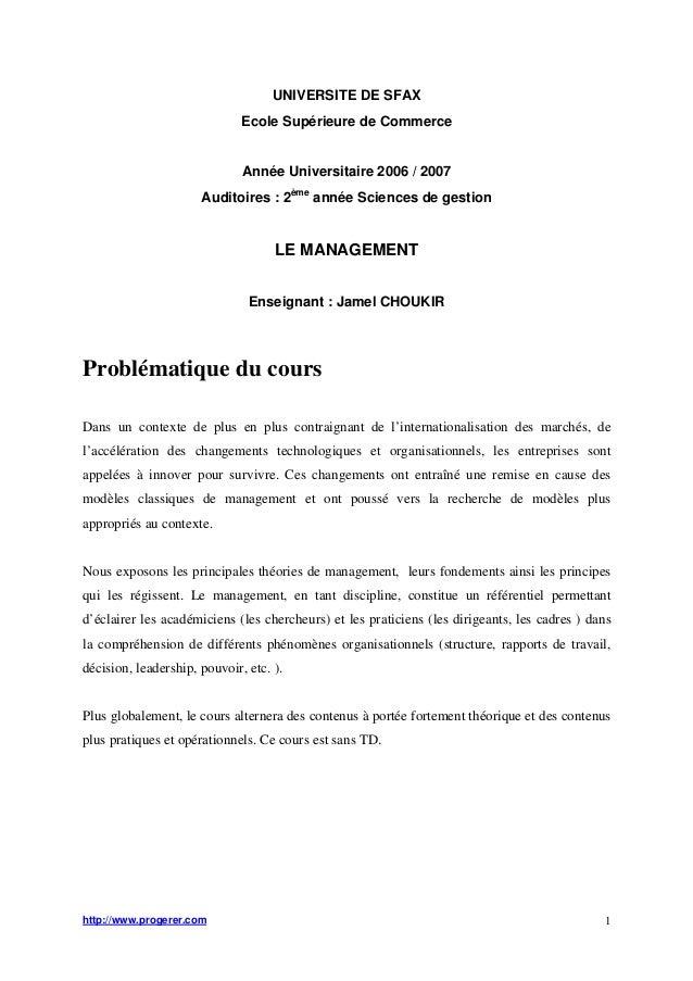 UNIVERSITE DE SFAX  Ecole Supérieure de Commerce  Année Universitaire 2006 / 2007  Auditoires : 2ème année Sciences de ges...
