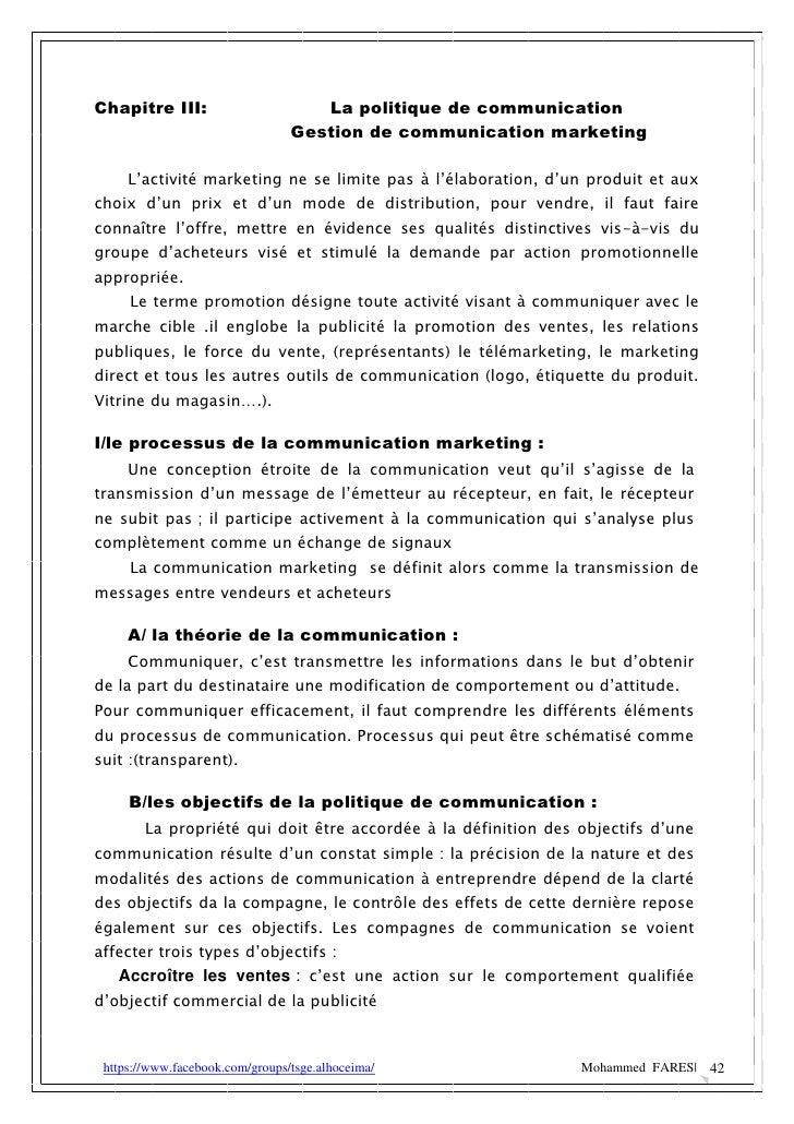 Chapitre III:                       La politique de communication                                 Gestion de communication...
