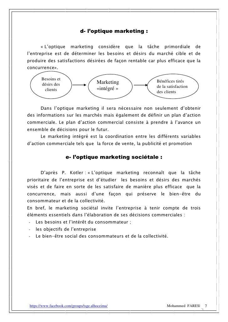 d- l'optique marketing :       « L'optique       marketing        considère      que   la   tâche     primordiale      del...