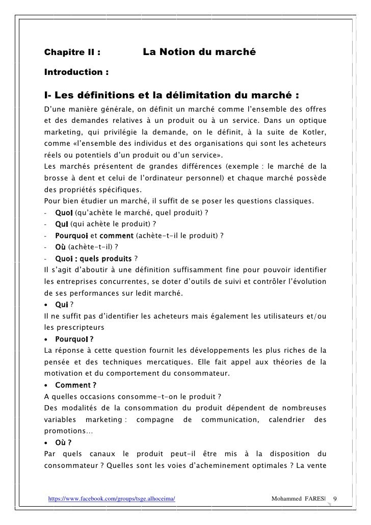 Chapitre II :                          La Notion du marchéIntroduction :I- Les définitions et la délimitation du marché :D...