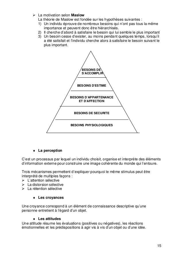 15 Ø La motivation selon Maslow La théorie de Maslow est fondée sur les hypothèses suivantes : 1) Un individu éprouve de n...