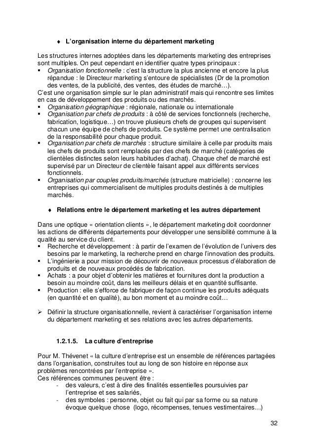 32 ♦ L'organisation interne du département marketing Les structures internes adoptées dans les départements marketing des ...
