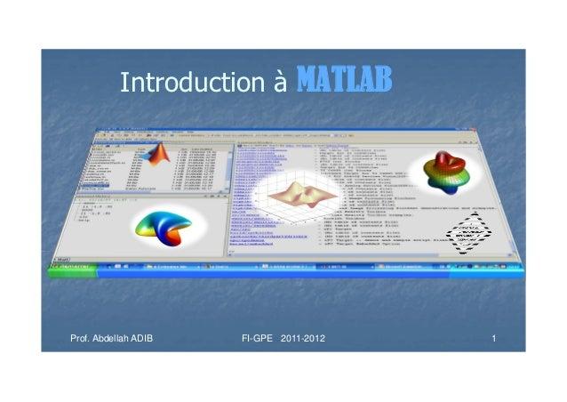 Introduction à MATLABProf. Abdellah ADIB   FI-GPE 2011-2012   1