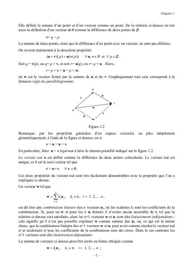 Chapitre 1cette notation est dite aussi somme d'Einstein : dans une somme d'Einstein il faut additionner parrapport à l'in...