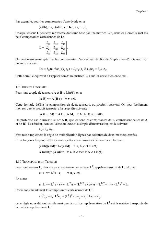 Chapitre 1Un bon exercice est de montrer les propriétés suivantes du tenseur transposé (A et B ∈ Lin(V), a etb ∈ V, α ∈ R)...