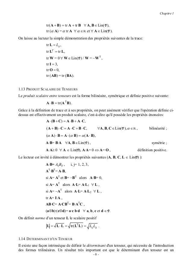 Chapitre 1invariant du tenseur même, et quil coïncide avec le déterminant de la matrice qui représente letenseur dans une ...