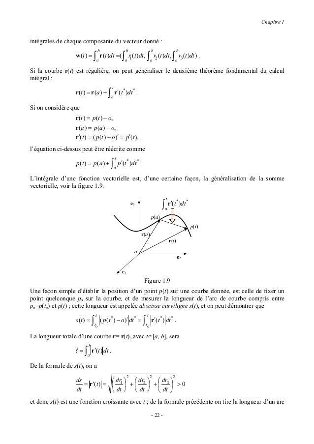 Chapitre 1infinitésimal de courbe,                  ds = dr12 + dr22 + dr32 ,formule souvent écrite comme                 ...