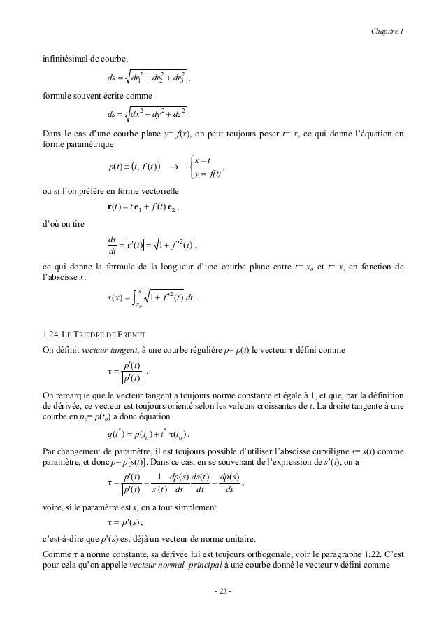 Chapitre 1                           τ′(t )                    ν=            .                           τ′(t )Il s'agit e...