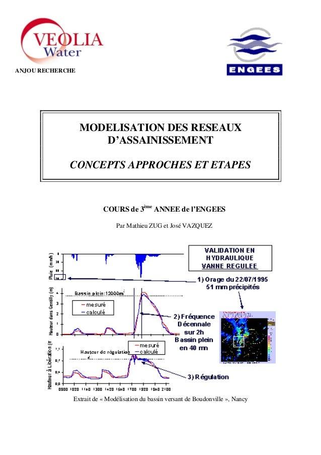 MODELISATION DES RESEAUX D'ASSAINISSEMENT CONCEPTS APPROCHES ET ETAPES COURS de 3ème ANNEE de l'ENGEES Par Mathieu ZUG et ...