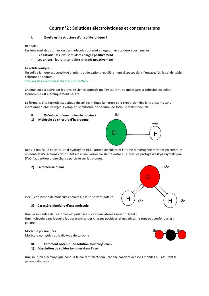 Cours n°2 : Solutions électrolytiques et concentrations    I.       Quelle est la structure d'un solide ionique ?Rappels :...