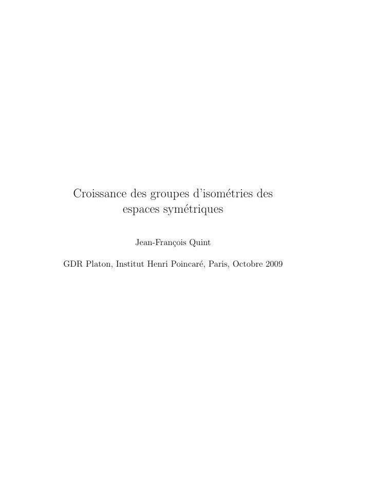 Croissance des groupes d'isom´tries des                                e            espaces sym´triques                   ...