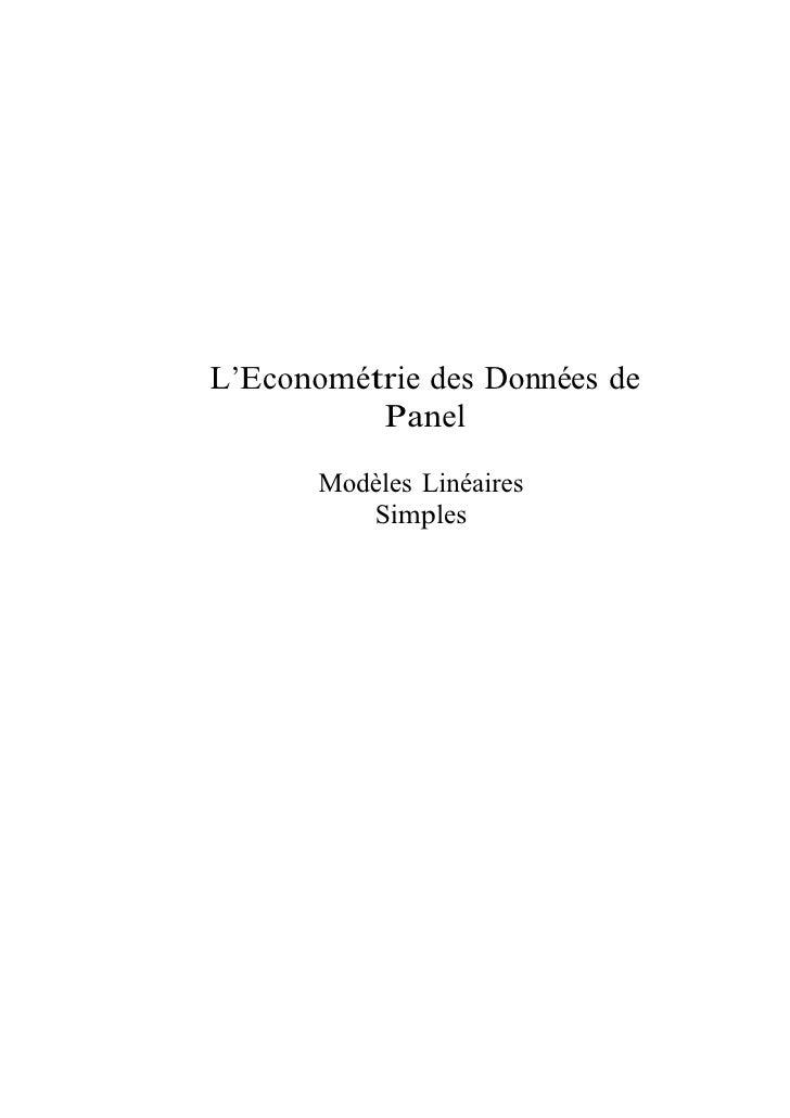 L'Econométrie des Données de          Panel       Modèles Linéaires          Simples