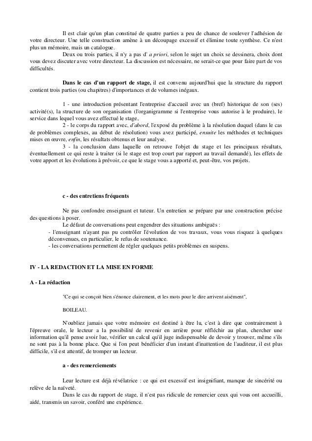 Cours Petit Aide Pour Rédiger Une Mémoire Ou Un Rapport De Stage