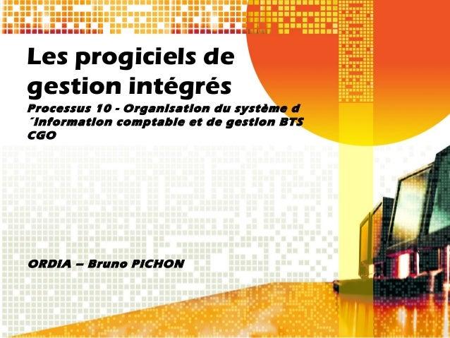 Les progiciels degestion intégrésProcessus 10 - Organisation du système d´information comptable et de gestion BTSCGOORDIA ...