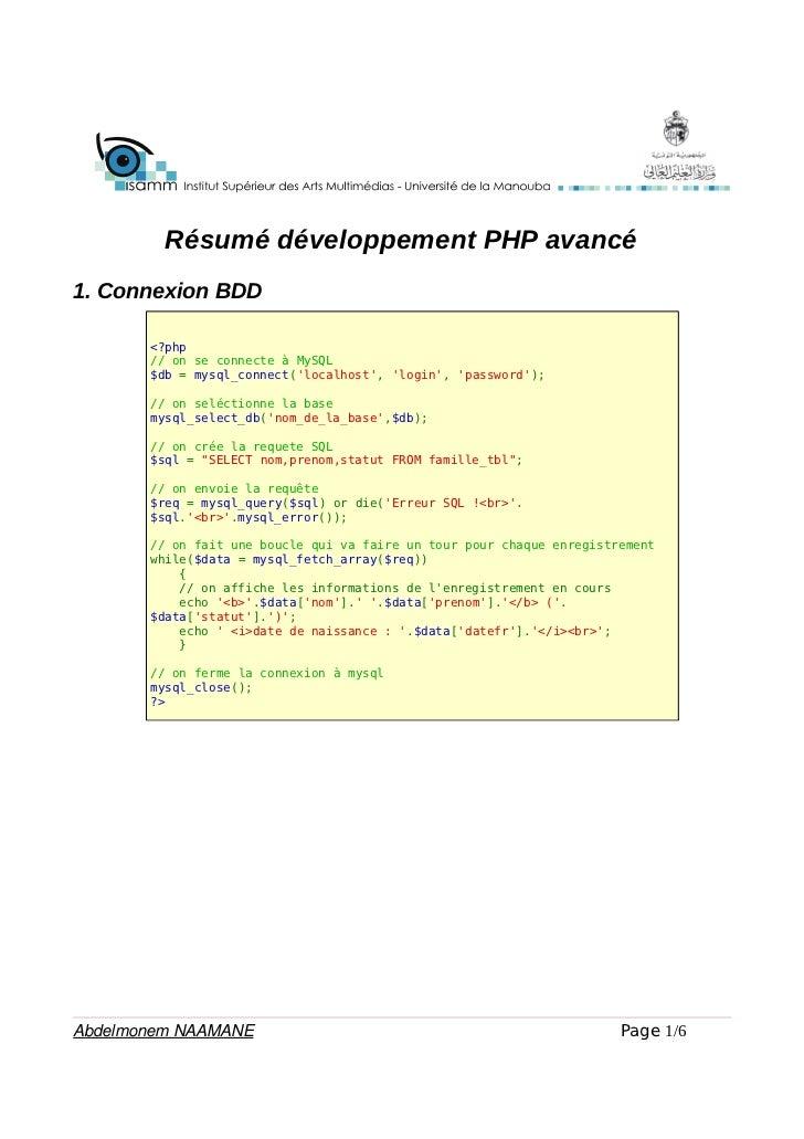 Résumé développement PHP avancé1. Connexion BDD       <?php       // on se connecte à MySQL       $db = mysql_connect(loca...