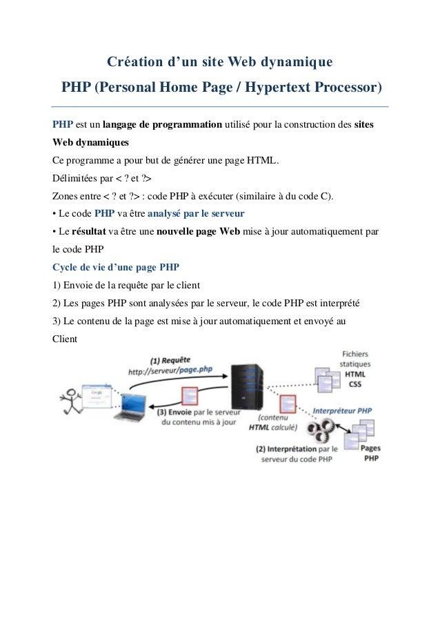 Création d'un site Web dynamique PHP (Personal Home Page / Hypertext Processor) PHP est un langage de programmation utilis...