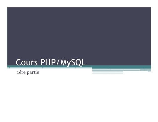 Cours PHP/MySQL 1ére partie