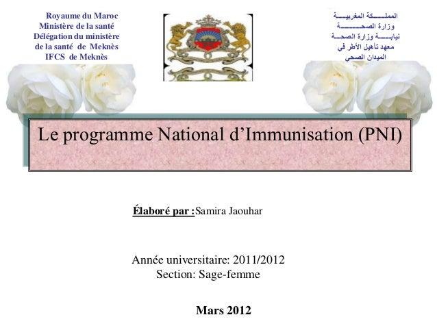 Royaume du Maroc Ministère de la santé Délégation du ministère de la santé de Meknès IFCS de Meknès Le programme National ...