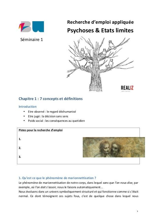 1   Recherche  d'emploi  appliquée   Psychoses  &  Etats  limites                     Chapit...