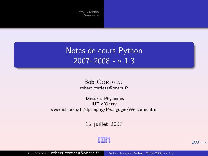 Avant-propos                              Sommaire                     Notes de cours Python                       2007–20...