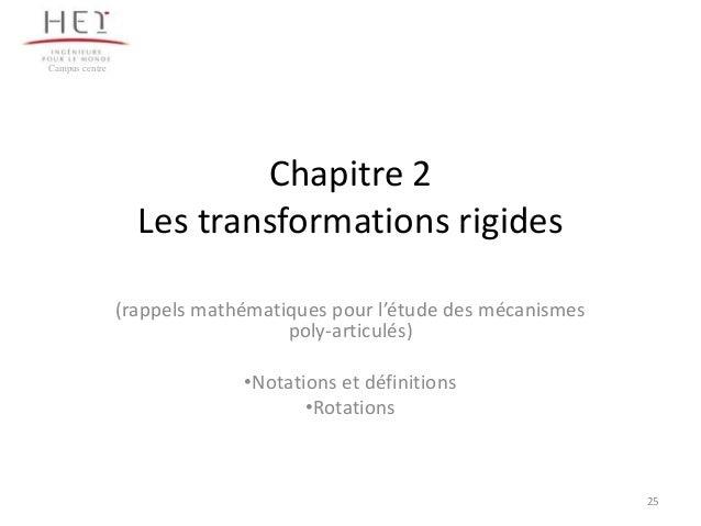 Campus centre  Chapitre 2 Les transformations rigides (rappels mathématiques pour l'étude des mécanismes poly-articulés) •...