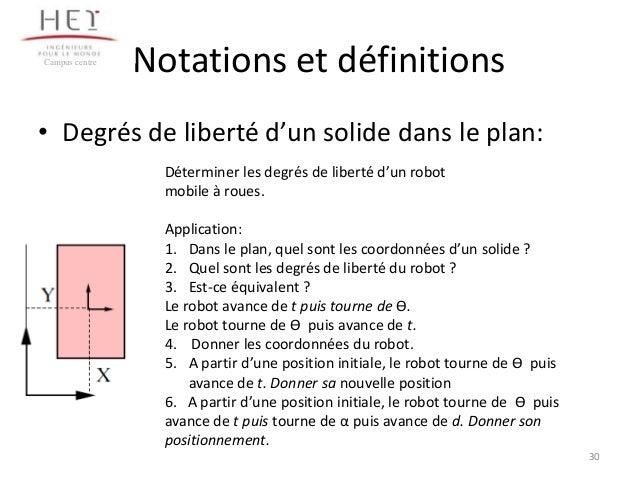 Campus centre  Notations et définitions  • Degrés de liberté d'un solide dans le plan: Déterminer les degrés de liberté d'...