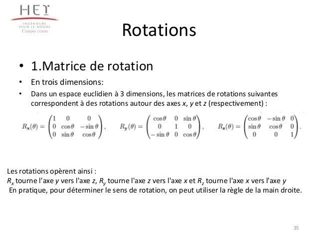 Campus centre  Rotations  • 1.Matrice de rotation • En trois dimensions: •  Dans un espace euclidien à 3 dimensions, les m...