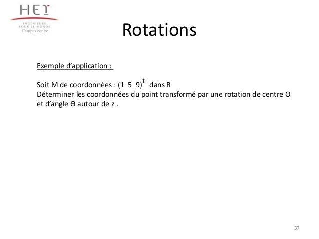 Campus centre  Rotations  Exemple d'application : t Soit M de coordonnées : (1 5 9) dans R Déterminer les coordonnées du p...
