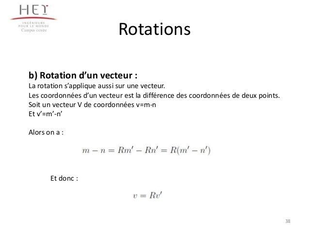 Rotations  Campus centre  b) Rotation d'un vecteur : La rotation s'applique aussi sur une vecteur. Les coordonnées d'un ve...