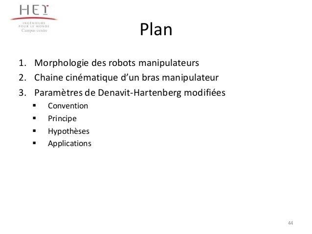 Plan  Campus centre  1. Morphologie des robots manipulateurs 2. Chaine cinématique d'un bras manipulateur 3. Paramètres de...