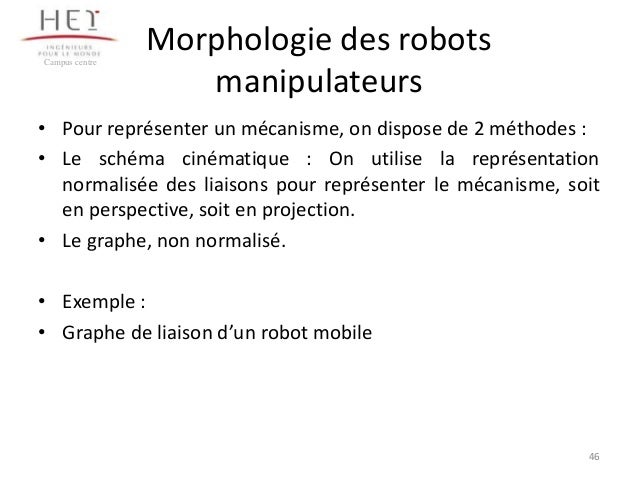 Campus centre  Morphologie des robots manipulateurs  • Pour représenter un mécanisme, on dispose de 2 méthodes : • Le sché...