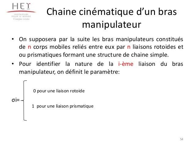 Campus centre  Chaine cinématique d'un bras manipulateur  • On supposera par la suite les bras manipulateurs constitués de...