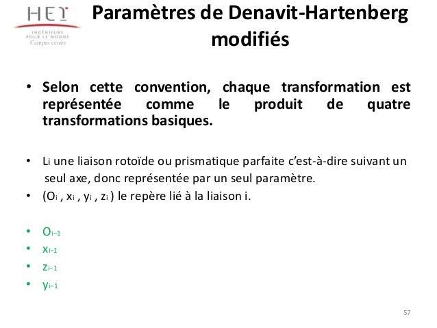 Campus centre  Paramètres de Denavit-Hartenberg modifiés  • Selon cette convention, chaque transformation est représentée ...