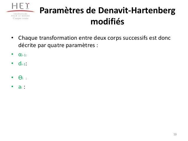 Campus centre  Paramètres de Denavit-Hartenberg modifiés  • Chaque transformation entre deux corps successifs est donc déc...