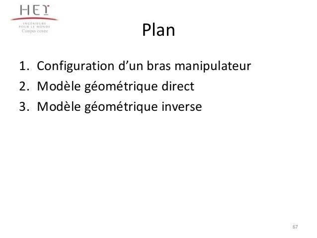 Campus centre  Plan  1. Configuration d'un bras manipulateur 2. Modèle géométrique direct 3. Modèle géométrique inverse  6...
