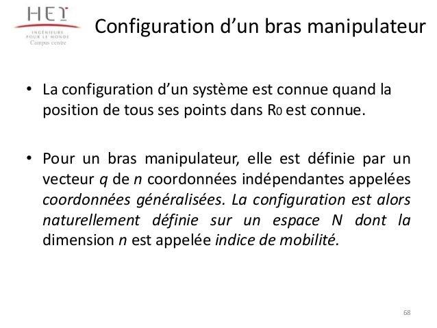 Configuration d'un bras manipulateur Campus centre  • La configuration d'un système est connue quand la position de tous s...
