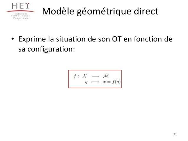 Modèle géométrique direct Campus centre  • Exprime la situation de son OT en fonction de sa configuration:  71