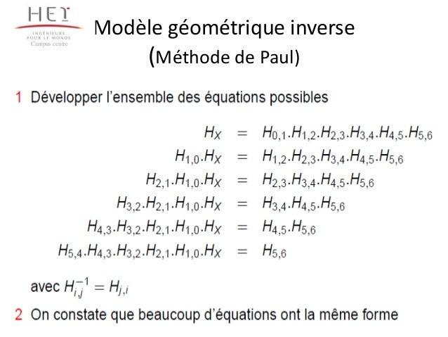 Modèle géométrique inverse Campus centre  (Méthode de Paul)  77